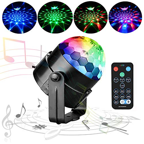 Stage Light Party Disco Ball Lights QINGERS Dj Stage Light 7 Colors Sound Activated For Christmas KTV Club Lights Romantic (Pro Dj Club Stage)