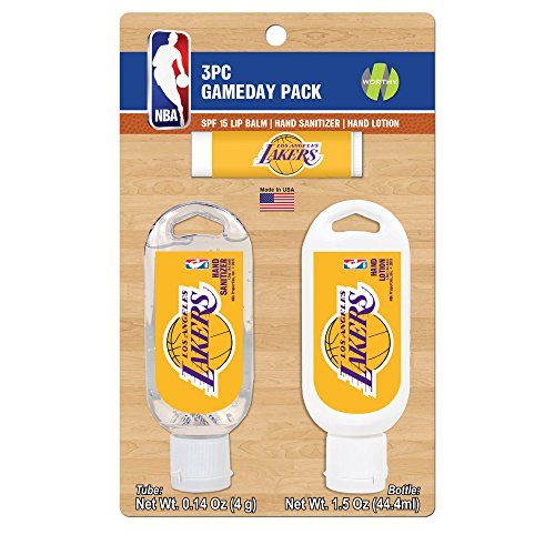 - Worthy Promotional NBA Los Angeles Lakers Game Day Pack Includes 1 Lip Balm, 1 Hand Sanitizer and 1 SPF Sunscreen (3-Piece), 8 x 5 x 1.5-Inch, White