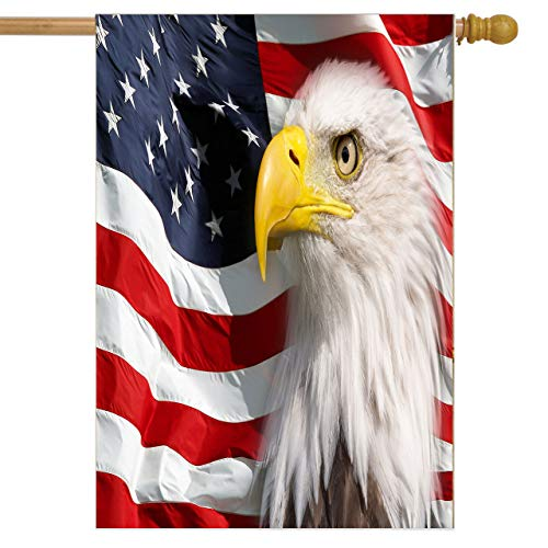 ALAZA Garden Flag Yard Decoration, North Bald Eagle Patriotic Stars Stripes America Memorial Day Independence Day USA Flag Double-sided Polyester House Banner for Home Outdoor Decor, 28