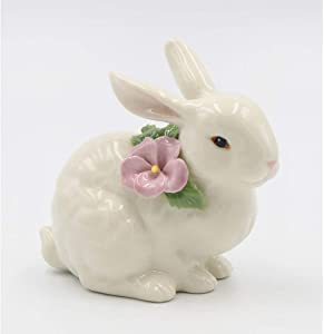 Cosmos Gifts 20966 Ivory Porcelain Rabbit Crouching Fig, White