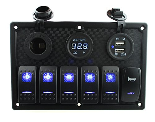 Ambuker 6 Gang Rocker Switch and horn switch Panel with Dual USB & voltmeter and Power Socket with Decal Sticker Labels DC12V-24V for Car Marine Boat Trailer Rv Vehicles Truck