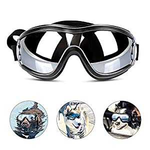 PEDOMUS Dog Sunglasses Dog Goggles Adjustable Strap for Travel Skiing and Anti-Fog Dog Snow Goggles Pet Goggles for Medium to Large Dog 17
