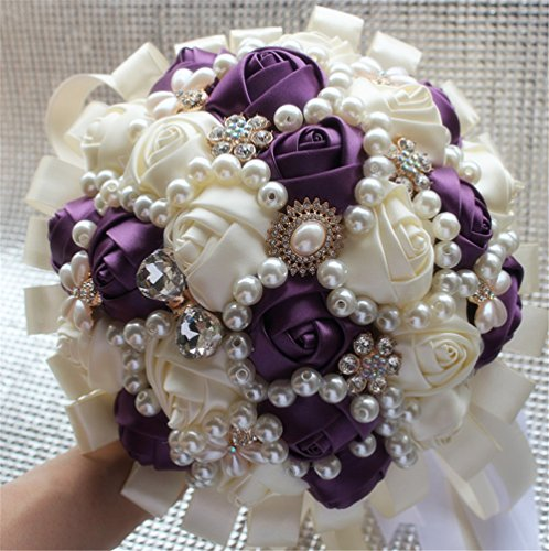 Hand Made Diamond Pearl Silk Roses Bridesmaid Bridal Artificial Bouquets Customization Bride Holding Bouquet Durable Wedding With Corsage Flower,18cm (Ivory+Dark Purple)
