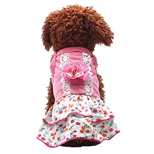Pet Dog Puppy Beauty Clothes Flower Skirts Dress Crystal Bowknot Lace Floral Pet Princess Clothes Apparel Cold Weather Dog Jacket Small Dogs Pet Summer Shirt (L, Pink)]()