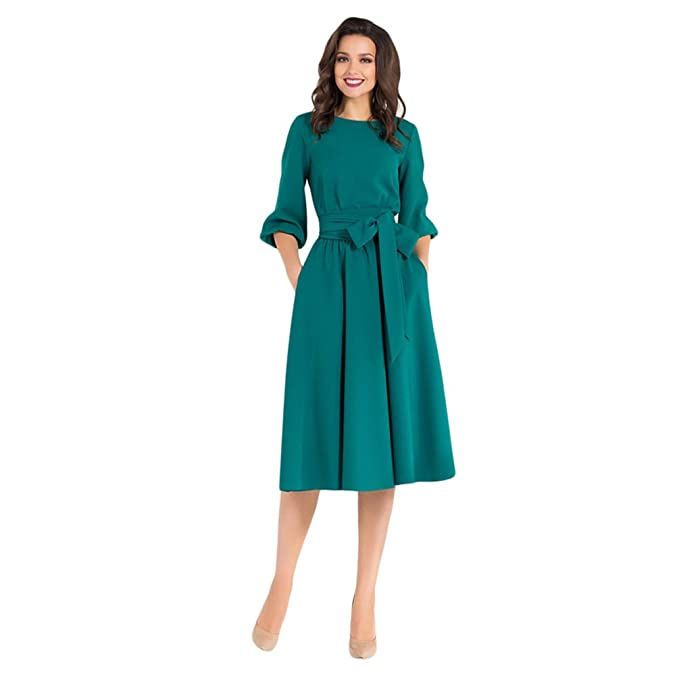 3fb3384a3ad3a Xinwcang Vintage Donna Vestiti Midi Manica Lunga Elegante Casual Vestito  Abito Lungo da Sera  Amazon.it  Abbigliamento