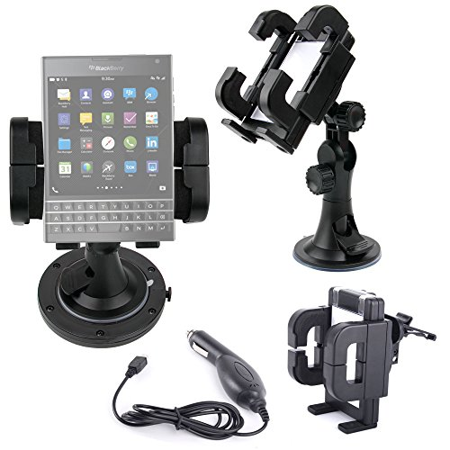 - DURAGADGET Exclusive 3-in-1 In-Car Smartphone Kit with Windscreen Suction Mount, Adhesive Dashboard Pad and In-Car Charger for Blackberry Passport