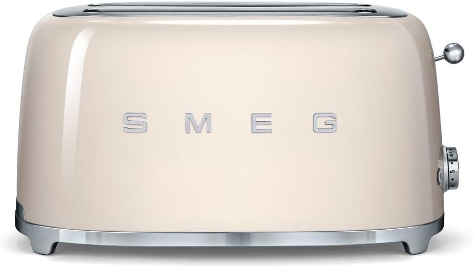 SMEG Tostador TSF02CREU, 1500 W, Acero Inoxidable, 2 Ranuras, Crema