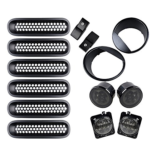 Hood Latch Assemble - Black Front Assemble for 07- 15 Jeep Wrangler JK Fender LED Side Marker + Grille Insert + Angry Headlight Bezels + Hood Lock Catch Latches (W/ Key)