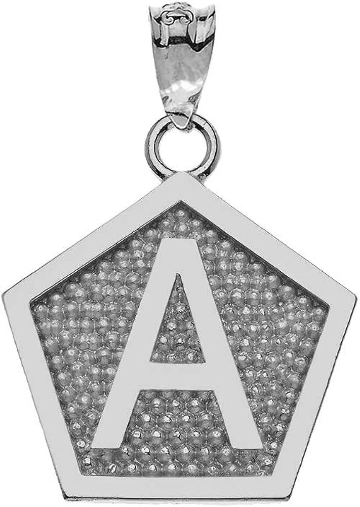 LA BLINGZ 10K White Gold Letter C Initial Pentagon Pendant Necklace
