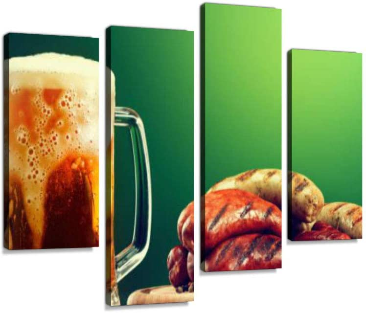 Mug of Beer Grilled Sausages on Green Background Oktoberfest Drink Food Canvas Wall Art Hanging Paintings Modern Artwork Abstract Picture Prints Home Decoration Gift Unique Designed Framed 4 Panel