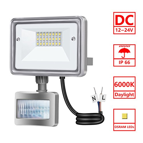 Low Voltage Motion Sensors (STASUN 10W Motion Sensor LED Flood Light, DC 12V-24V, 950LM (100W Equiv.), 6000K Daylight White, Waterproof Security Lights Auto On/Off for Driveway Patio Garden Path)