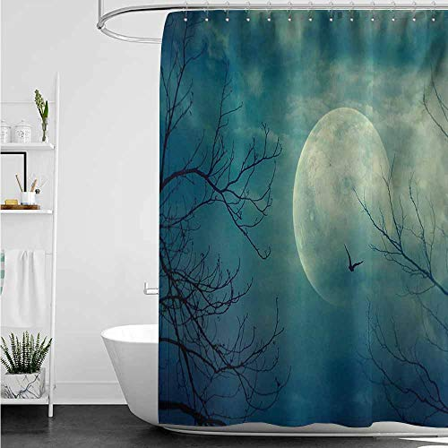 home1love Bath Shower Curtain,Horror House Halloween with Full Moon in Sky and Dead Tree Branches Evil Haunted Forest Print,Shower stall Curtain,W72x84L,Blue ()