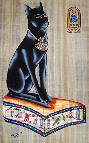 Egyptian Hand-Painted Papyrus Artwork (Imported): Bastet with Cartouche of King Tut
