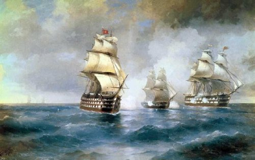 Ivan Constantinovich Aivazovsky Brig Mercury Attacked of Two Turkish Battleships - 24'' x 36'' 100% Hand Painted Oil Painting Reproduction by Art Oyster