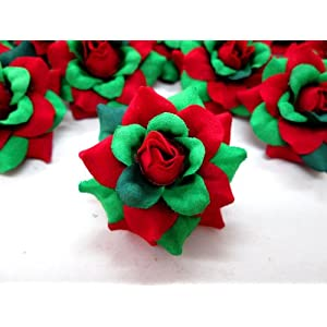 "(100) Silk Christmas Roses Red Green Flower Heads - 1.75"" - Artificial Flowers Heads Fabric Floral Supplies Wholesale Lot for Wedding Flowers Accessories Make Bridal Hair Clips Headbands Dress 4"