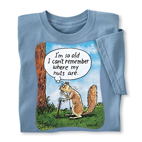 (Mens Funny Squirrel Losing Nuts Thought Bubble Novelty Tee, Short Sleeved Shirt with Crew Neckline, Sky, Xx-Large)