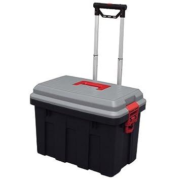 Storage Trunk W/ Wheels U0026 Extendable Handle Rolling Garage Storage Box  RV 650