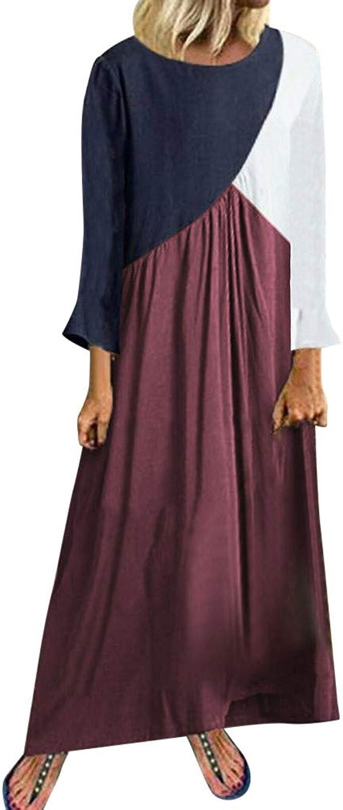 iFRich Vestidos Casual Verano, Vestido De Lino De Verano Vestido Mujer Verano De Playa Camiseta AlgodóN Casual Tallas Grandes Vestido Suelto de Manga Corta hasta el Suelo para Mujer: Amazon.es: Ropa y