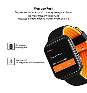 Hangang Bluetooth Smart Watch Colorful Touch Screen Blood Pressure Monitor Heart Rate Pedometer Smartwatch men Call Message Reminder Wearable devices Holiday Gift watch