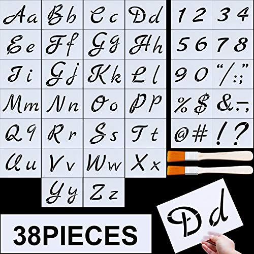 - Letter Stencils, Alphabet Templates, Alphabet Stencils Reusable Plastic Art Craft Stencils with Numbers (Style D, Size 4)