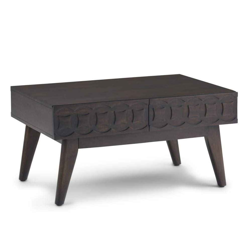Simpli Home AXCWAI-01 Wainwright Solid Mango Wood 36 inch Wide Rectangle Mid Century Modern Coffee Table in Chestnut Brown by Simpli Home