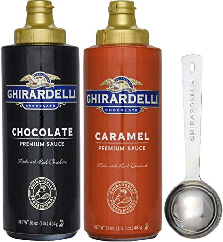 Ghirardelli - 17 Ounce Caramel, 16 Ounce Chocolate Sauce Squeeze Bottles (Set of 2) - with Limited Edition Measuring Spoon ()