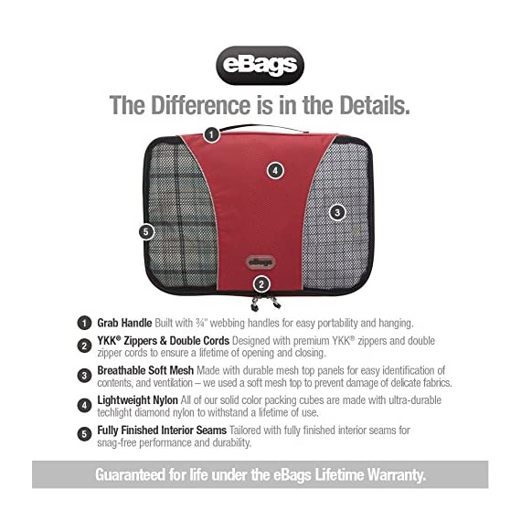"eBags Small Classic Packing Cubes for Travel - Organizers - 3pc Set 8 INCLUDES 3 Small PACKING CUBES: Dimensions are 11"" x 6.75"" x 3""; great for packing tanks, undergarments, diapers, etc. SUPERIOR QUALITY: Highest construction standards utilized, making it a customer-favorite, packing cube of choice. Includes premium self-healing zippers with corded pulls for a lifetime of opening and closing. DURABLE & CONVENIENT: Interior seams fully finished for durability and soft mesh tops won't damage delicate fabrics or dress clothes. Mesh allows for easy identification - no more digging around!"