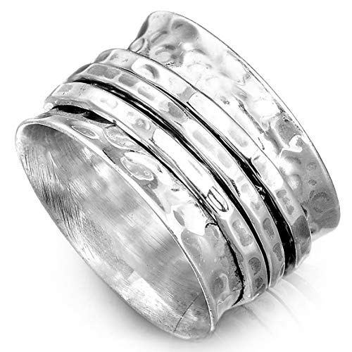 Boho-Magic 925 Sterling Silver Spinner Ring for Women | Spinning Ring | Wide Band Meditation (9)