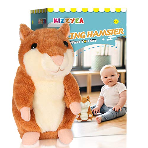 KIZZYEA Bigger Talking Hamster - Repeats What You Say - Interactive Stuffed Plush Animal Talking Toy - Fun Gift for 2,3 Year Old Girls, Baby, Kids, Toddlers (Toys $75 Under For Hamster)