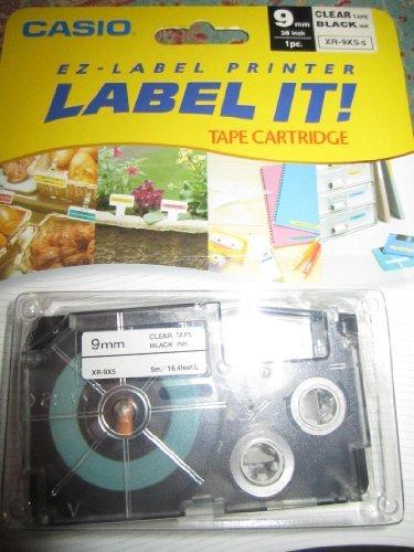 "Casio Tape Cassettes for Ez-label Printer, 3/8"", Clear/black"