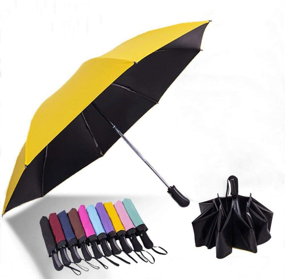 TtKj Folding Umbrella Reverse Solid Color Reinforcement Sunshade Anti-Ultraviolet Black Plastic Sunshade 58.596110cm