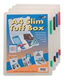 4 x A4 Slim Rigid Strong Transparent Tuff Storage Document Paper Filing Box Fil