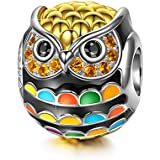 NinaQueen 925 Sterling Silver Pandöra Charms Owl Beads Gold Plated Multicolor Enamel Charm for Pandöra Bracelets Birthday Valentines Day Anniversary Jewelry Gifts for Teen Girls Kids Sisters Daughter