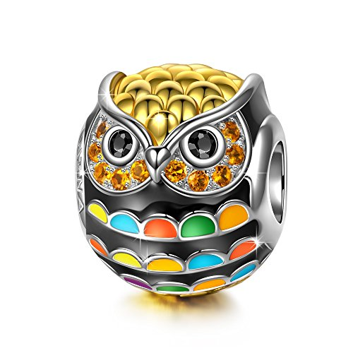 Silver Owl Beads (NinaQueen 925 Sterling Silver Owl Animal Bead Charm Gold Plated Multicolor Enamel Charms for Pandöra Bracelets Birthday Anniversary Necklace Jewelry Gifts for Her Teen Girls Kids Sisters Daughter)