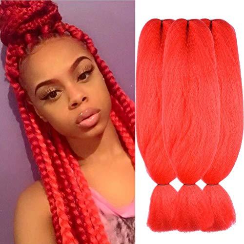 Wome Hair 3Pcs/Lot 48inch Kanekalon Synthetic Jumbo Braiding Hair High Temperature Fiber Crochet Braids Extensions(Red#,48
