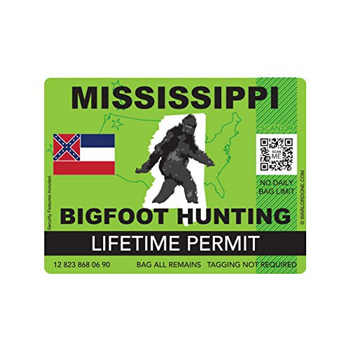 fagraphix Mississippi Bigfoot Hunting Permit Sticker Die Cut Decal Sasquatch Lifetime FA Vinyl - 4.00 Wide