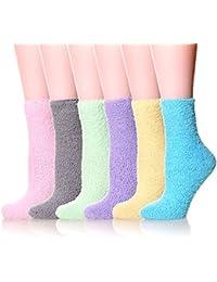 6 Pairs Women's Cozy Slipper Socks Super Soft Fuzzy Winter Warm Socks Multi Color