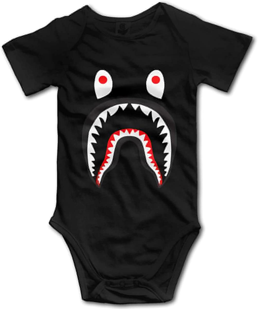 B-a-p-e Shark Blood Baby Bodysuit Newborn Boys Girls Funny Romper Short Sleeve Jumpsuit Outfits