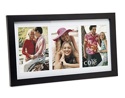 Philip Whitney 3 Opening 4x6 Black Wood Collage Picture Frame - Triple Frame Set