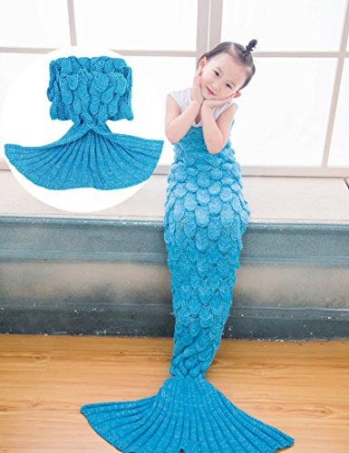 NOPTEG Kid Mermaid Tail Blanket Handmade Crocheted Living Room Sofa Blanket Sleeping Bag Birthday New Year Gift for Camping,Sleeping,Reading,Car Trip(…