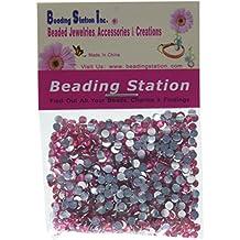 Beading Station 1440-Piece Flat Back Brilliant 14-Cut Round Rhinestones, 3mm-10ss, Pink