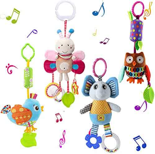 Cartoon animal Voice music baby car hanging toy infant Sleeping soothing Toys DA
