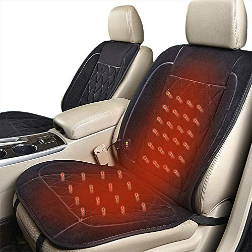 Lvydec Heated Car Seat Cover - 3 Temperature Level Heated Seat Cushion for 12V/24V Car SUV Truck, Black (Seat Electric Heated Cushion)