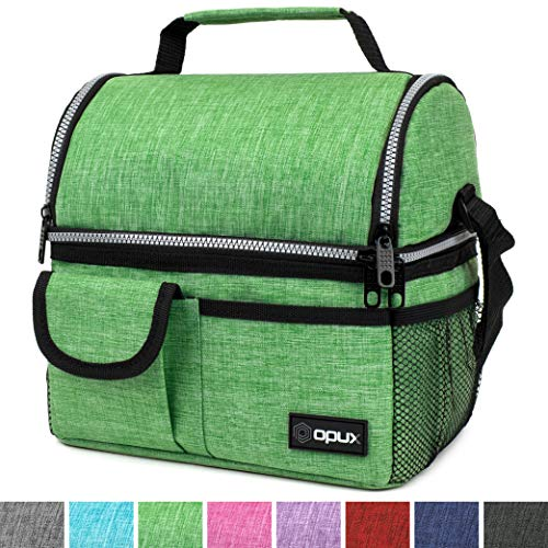 OPUX Insulated Dual Compartment Lunch Bag for Men, Women   Double Deck Reusable Lunch Pail Cooler Bag with Shoulder Strap, Soft Leakproof Liner   Large Lunch Box Tote for Work, School (Green)