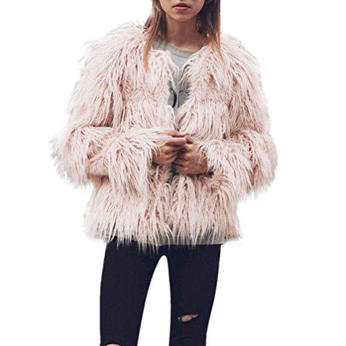 DMZing Women's Autumn Winter Warm Solid Plus Size Long Sleeve Casual Fluffy Faux Fur Outwear Jacket Coat