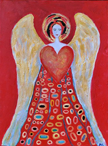 Angel with Heart Painting on CANVAS Wings Guardian Christmas Original Oil Artwork 12x16 Red and White Gold Blue Wall Art for Kids Home House Room Decoration by SmartPolonia
