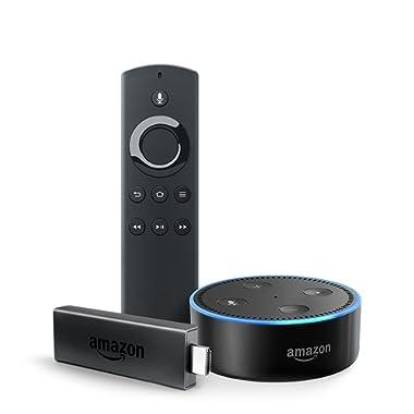 Fire TV Stick with Alexa Voice Remote + Echo Dot (Black)