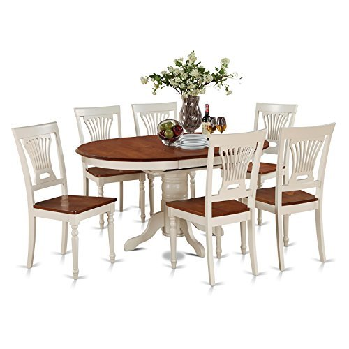 (East West Furniture KEPL7-WHI-W 7-Piece Dining Table Set)