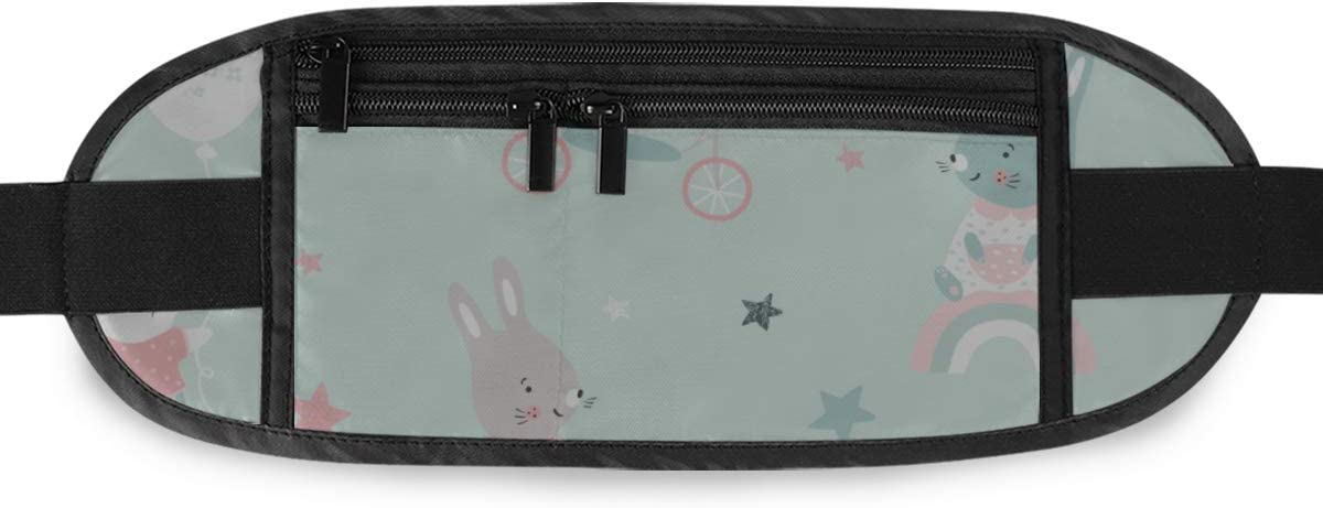 Creative Childish Cute Rabbits Running Lumbar Pack For Travel Outdoor Sports Walking Travel Waist Pack,travel Pocket With Adjustable Belt