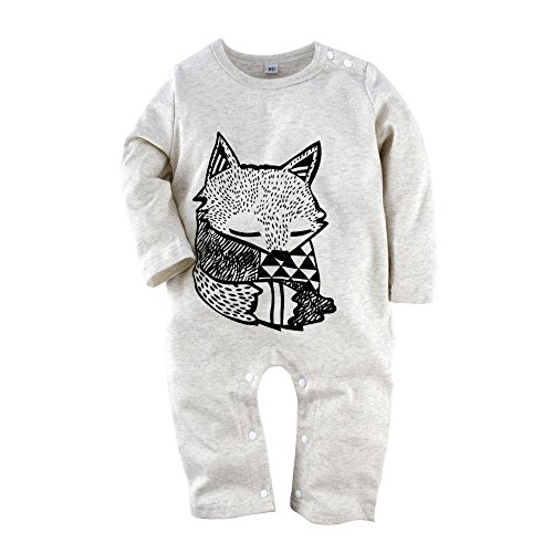 Big Elephant Baby Boys 1 Piece Long Sleeve Romper Pajama Clothes (H12-80) 3-6 Months Grey